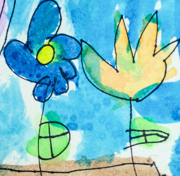A flower drawing by a preschool student at Kirk Preschool Bloomfield Hills Michigan