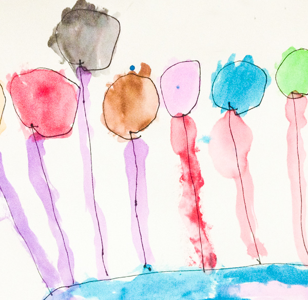 A preschool student's artwork from class.