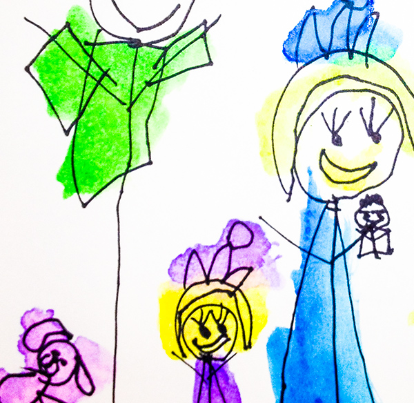 A family drawing by one of our preschool students at Kirk Preschool Bloomfield Hills Michigan